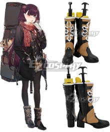 Girls' Frontline WA2000 Black Yellow Shoes Cosplay Boots