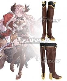Granblue Fantasy Narmaya MAO Christmas Brown Shoes Cosplay Boots