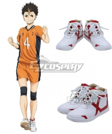 Haikyuu!! Yū Nishinoya Yuu Nishinoya White Red Cosplay Shoes