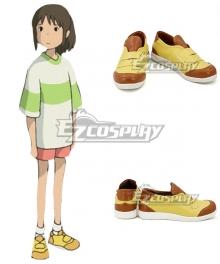 Hayao Miyazaki Spirited Away Ogino Chihiro Yellow Brown Cosplay Shoes