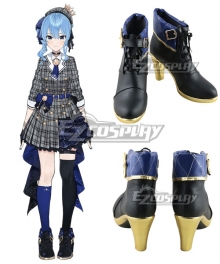 Hololive Vtuber Hoshimachi Suisei Black Cosplay Shoes