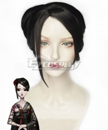 Identity V Geisha Michiko Blood Fan Halloween Black Cosplay Wig