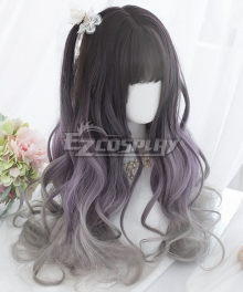 Japan Harajuku Lolita Series Black Purple Cosplay Wig
