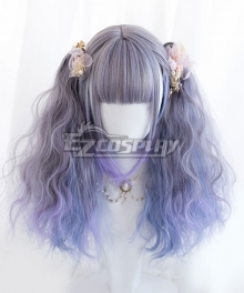 Japan Harajuku Lolita Series Gradient Blue Double Ponytail Cosplay Wig