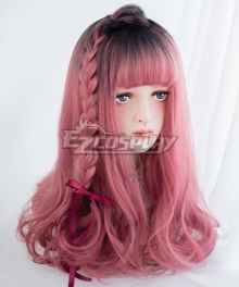 Japan Harajuku Lolita Series Gradient Light Red Long Curls Cosplay Wig-Only Wig AG-029