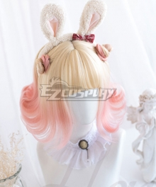 Japan Harajuku Lolita Series Grapefruit Golden Pink Cosplay Wig