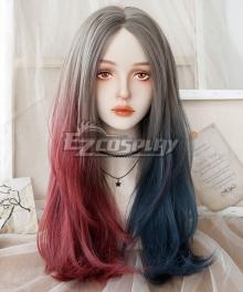 Japan Harajuku Lolita Series Harley Quinn Grey Pink Blue Cosplay Wig