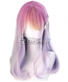 Japan Harajuku Lolita Series Rainbow Candy Pink Purple Cosplay Wig