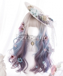 Japan Harajuku Lolita Series Unicorn mist Gray Purple Blue Cosplay Wig