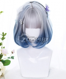 Japan Harajuku Lolita Seriest Silver Blue Gradient Color Cosplay Wig - Only Wig