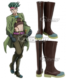 JoJo's Bizarre Adventure Rohan Kishibe Brown Shoes Cosplay Boots