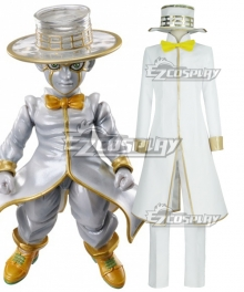 Jojo'S Bizarre Adventure :Unbreakble Diamond Rohan Kishibe Heaven' Door White Cosplay Costume