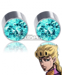 JoJo's Bizarre Adventure: Vento Aureo Golden Wind Giorno Giovanna Light Blue Magnet Earrings Cosplay Accessory Prop
