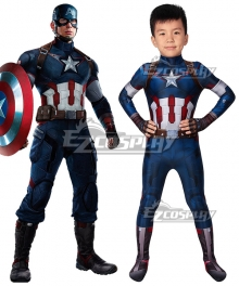 Kids Marvel The Avengers 2 Captain America Zentai Zentai Jumpsuit Cosplay Costume