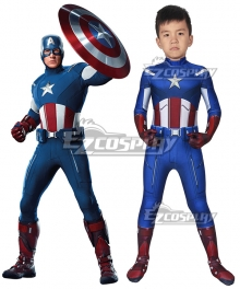 Kids Marvel The Avengers Captain America Zentai Jumpsuit Cosplay Costume