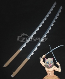 Demon Slayer: Kimetsu No Yaiba Inosuke Hashibira Two Sword Cosplay Weapon Prop