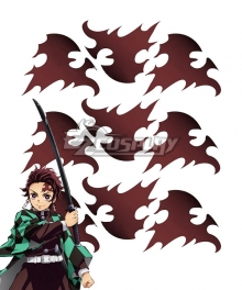 Demon Slayer: Kimetsu No Yaiba Kamado Tanjirou Three Tattoo Stickers Cosplay Accessory Prop