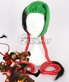 League of Legends LOL Firecracker Jinx Black Green Cosplay Wig