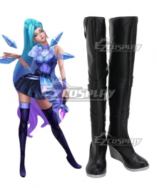 League Of Legends LOL K/DA ALL OUT Seraphine Superstar Black Shoes Cosplay Boots