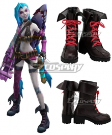 League Of Legends LOL Loose Cannon Jinx Brown Shoes Cosplay Boots