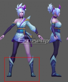 League of Legends LOL Spirit Blossom Riven Blue Shoes Cosplay Boots