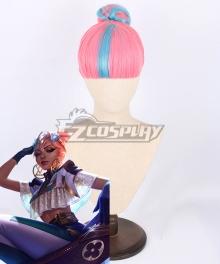 League of Legends LOL True Damage Qiyana Prestige Edition Pink Blue Cosplay Wig