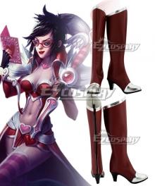League Of Legends LOL Vayne Heartseeker Skin Dark Red Shoes Cosplay Boots