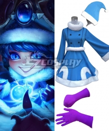 League of Legends Winter Wonderland Lulu Christmas Blue Dress Cosplay Costume