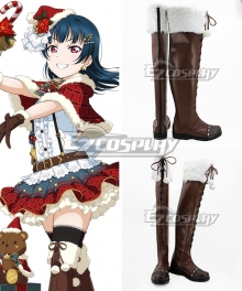 Love Live! Sunshine!! Yoshiko Tsushima Christmas Ver. Brown Shoes Cosplay Boots