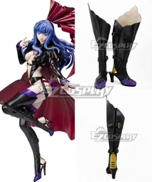 Macross Frontier Black Rabbit Sheryl Nome Black Purple Shoes Cosplay Boots