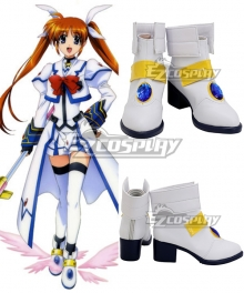 Magical Girl Lyrical Nanoha Nanoha Takamachi White Cosplay Shoes