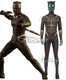 Marvel Black Panther 2018 Movie T'Challa Black Panther Yellow Printed Jumpsuit Cosplay Costume