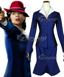 Marvel Captain America Peggy Carter Blue Cosplay Costume