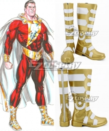 DC Comics Shazam! Billy Batson Golden White Shoes Cosplay Boots