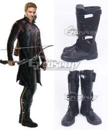 Marvel The Avengers Hawkeye Clinton Francis Barton Black Shoes Cosplay Boots