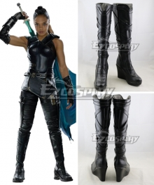 Marvel Thor 3 Ragnarok Trailer Valkyrie Black Shoes Cosplay Boots