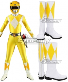 Mighty Morphin' Power Rangers Boy Tyranno Ranger White Yellow Shoes Cosplay Boots