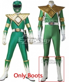 Mighty Morphin' Power Rangers Dragon Ranger Burai White Green Shoes Cosplay Boots