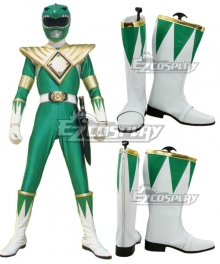 Mighty Morphin Power Rangers Green Ranger Green White Shoes Cosplay Boots