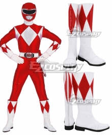 Mighty Morphin Power Rangers Red Ranger Red White Shoes Cosplay Boots