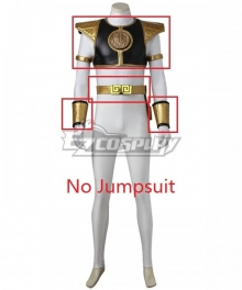 Mighty Morphin' Power Rangers Tommy Oliver White Power Ranger Cosplay Costume-No Jumpsuit, Gloves