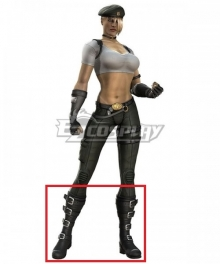 Mortal Kombat Sonya Blade Black Shoes Cosplay Boots