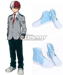 My Hero Academia Boku No Hero Akademia Shoto Todoroki Light Blue Cosplay Shoes