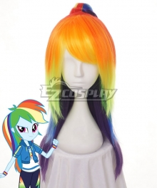 My Little Pony Equestria Girls Rainbow Dash Orange Yellow Purple Cosplay Wig