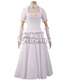 New Super Mario Bros. U Deluxe Toad Ghost Princess Bowsette White Dress Cosplay Costume
