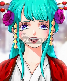 One Piece Kozuki Hiyori Green Long Cosplay Wig