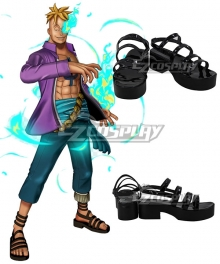 One Piece Marco Black Cosplay Shoes