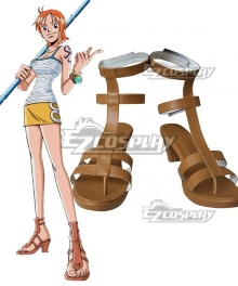 One Piece Nami Two Years Ago Brown Cosplay Shoes