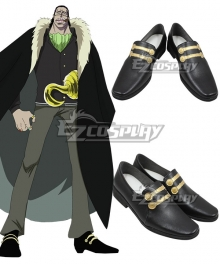 One Piece Sir Crocodile Desert King Black Golden Shoes Cosplay Boots