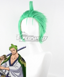 One Piece Wano Country Arc Roronoa Zoro Green Cosplay Wig